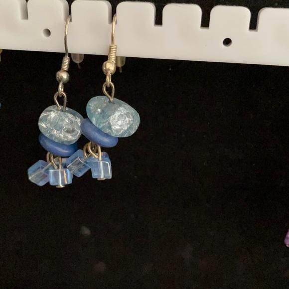 Light blue hand made earrings